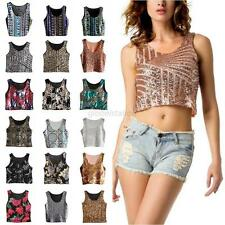 Womens Bling Sequin Casual Cami Tank Beach Vest Crop Top Bralette Blouse T-shirt