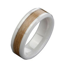 Men's Polished White Ceramic Light Brown Wood Inlay Ring Wedding Band for Couple