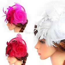 Fashion Handmade Hat Fascinator Party Wedding Feather Hair Clip Feather Cap