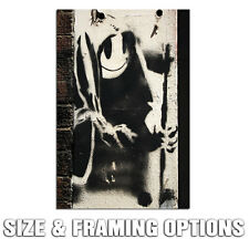 BANKSY GRIM REAPER BLACK & WHITE GRAFFITI STREET ART HIGH QUALITY CANVAS PRINT