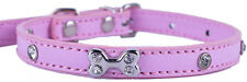 6Colors Pu Leather Dog Collar Rhinestone Bone Shaped Charm Small Pet Neck Strap