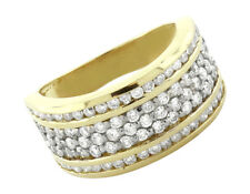 Unisex 14K Yellow Gold Three Channel Genuine Round Diamond Wedding Band 1.60 Ct