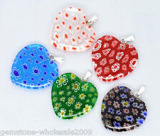 Wholesale Lots Mixed Millefiori Glass Lampwork Heart Charm Pendants 31x25mm