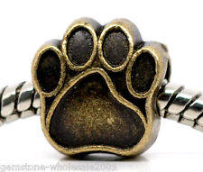 Wholesale Lots Bronze Tone Dog's Paw Charm Beads Fit Charm Bracelet