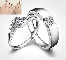 Silver Plated Ring Finger Band Crystal Couple Jewelry Hot Wedding White Party t