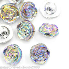 Wholesale lots Acrylic Sewing Buttons AB Color Flower Rose Silver Tone