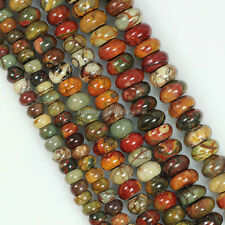 Pretty Picasso Jasper Stone Gemstone Abacus Rondelle Spacer Loose Beads 15.5""