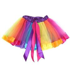 Kids Girls Rainbow Ballet Dancewear Dress High Waist Tutu Party Pettiskirt 0-10Y