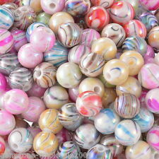 Wholesale W09 Acrylic Spacer Beads AB Color Stripe Pattern Round Mixed 8mm