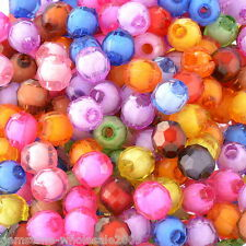 "Wholesale Lots Mixed Round Faceted Acrylic Spacer Beads 8mm(3/8"") Dia."