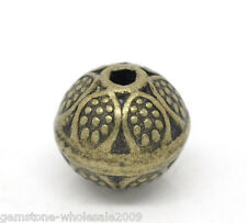 Wholesale Lots Bronze Tone Flower Round Spacer Beads 9x8mm