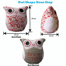 Delightful Shabby Chic Bright Pink Brown Fabric Patchwork Owl Door Stop Stopper