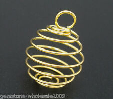 Wholesale Lots gold Plated Spiral Bead Cages Pendants 29x24mm
