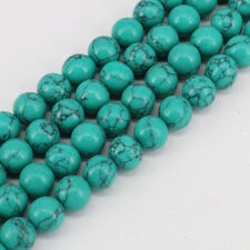"15"" Round Green Turquoise Charm Loose Spacer Beads Fit Bracelet Necklace Making"