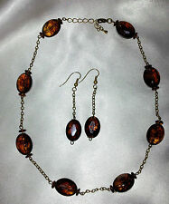 Bespoke Handmade Amber Onyx Ceramic Jewellery Necklace & Earring Sets Christmas