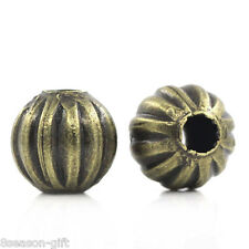 "Gift Wholesale Metal Spacer Beads Pumpkin Round Ball Bronze Tone 6mm(2/8"")Dia."