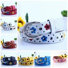 Colorful Toddler Flower Belt Buckle Faux Leather Kids Girls Boys Child Waistband