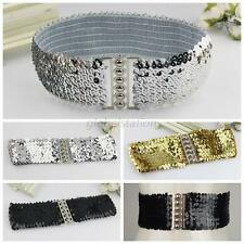 New Women Elastic Sequin Belly Belt Stretch Waistband Buckle Corset Wide Fashion
