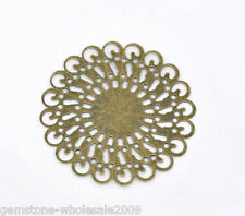 Wholesale Lots Bronze Tone Filigree Round Wraps Connectors 37x37mm