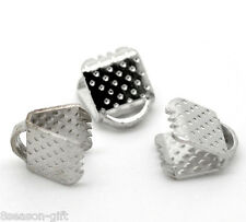 Gift Wholesale Silver Tone Textured End Caps Crimp Beads 6x8mm