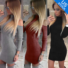 Womens Bodycon Cold Shoulder Dress Ladies Party Evening Mini Dress Size 6-14
