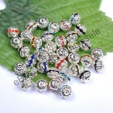 100Pcs Quality Czech Crystal SILVER PLATED Round Spacer BEADS 6MM 8MM 10MM 12MM