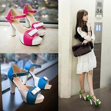 Women's Fashion Sandals Pumps Peep Toe High Block Heel Bow High Heels R7Z6