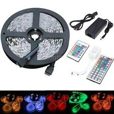 5M 300LED SMD 3528/5050 RGB Flexible Strip Light + 24/44key Remote + Power Q6P4