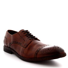 Mens H By Hudson Davern Drum Dye Office Tan Designer Work Brogue Shoes All Sizes