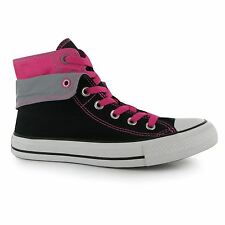 Converse All Star Hi Top Two Fold Casual Trainers Womens Black/Pink Sneakers