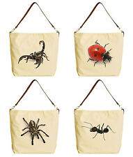 Vietsbay Women Wild Insects Canvas Tote Bag with Leather Strap WAS_29