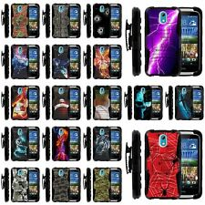 HTC Desire 526 & 526G Black Shockproof Armor Belt Clip Holster Hard Cover Case