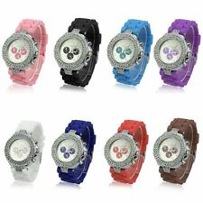 Geneva Ladies Women Fashion Jelly Crystal Dial Silicone Strap Quartz Wrist Watch