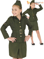 Childs Army Girl Costume Kids WW2 Fancy Dress Military Soldier Book Week 1940s