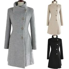 Ladies Fitted Belted Jacket Long Sleeve Slim cut Peacoat Womens Trench Coat Size
