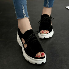 Size 5-8 Women Summer Pee Toe Slingback Sandals Lace Up Wedge Platform Shoes