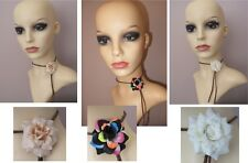 Flower Festival Choker Necklace, Leather tie flower necklace, Boho Necklace NEW
