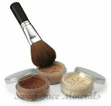 4 Pc kit with Brush Mineral Makeup Set Bare Skin Sheer Powder Full Sz Foundation
