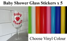 Baby Shower Glass Stickers, Vinyl Stickers for Baby Shower, Choose Colour & Text