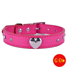 Leather Studded Dog Collar Rhinestones Accessories Heart Shaped CharmDogNecklace