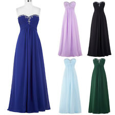Strapless Chiffon Long PROM Wedding Bridesmaid Dress Formal Evening Party Gown