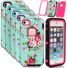 Glossy Peony Flower Pattern Armor Shockproof Case Cover For iPhone 4S 5 5S SE 5C