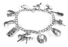 Cowgirl Charm Bracelet Western Horses Boot Rodeo Steel or Sterling Silver Chain