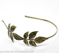 Wholesale Charm Bronze Tone Leaf Headbands Hair Band 4mm wide