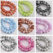 50/72pcs 8X6mm Marble Vein Rondelle Faceted Glass Loose Spacer Beads 13 Colors