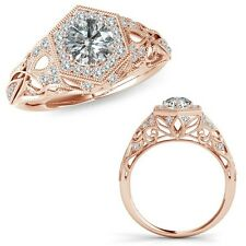 1 Carat G-H Diamond Classy Designer Halo Wedding Bridal Ring 14K Rose Gold
