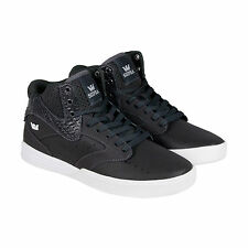 Supra Khan Mens Grey Leather High Top Lace Up Sneakers Shoes