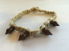 Natural Coloured Hemp Bracelet With Wooden Spikes & Silver Beads