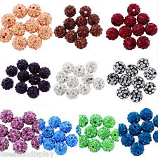 "10PCs Polymer Clay Pave Rhinestone Ball Beads Round 10mm( 3/8"") M1118"