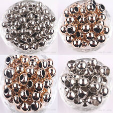 Wholesale 50/100X Rose Golden Silver Plated Big Hole Spacer Bead 10MM 12MM 14MM